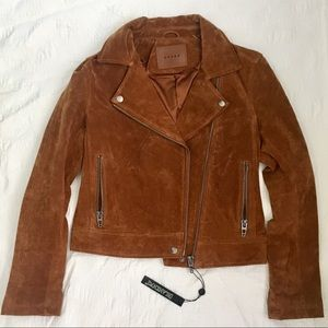 NEW Blank NYC suede Moto Jacket in brown/cognac